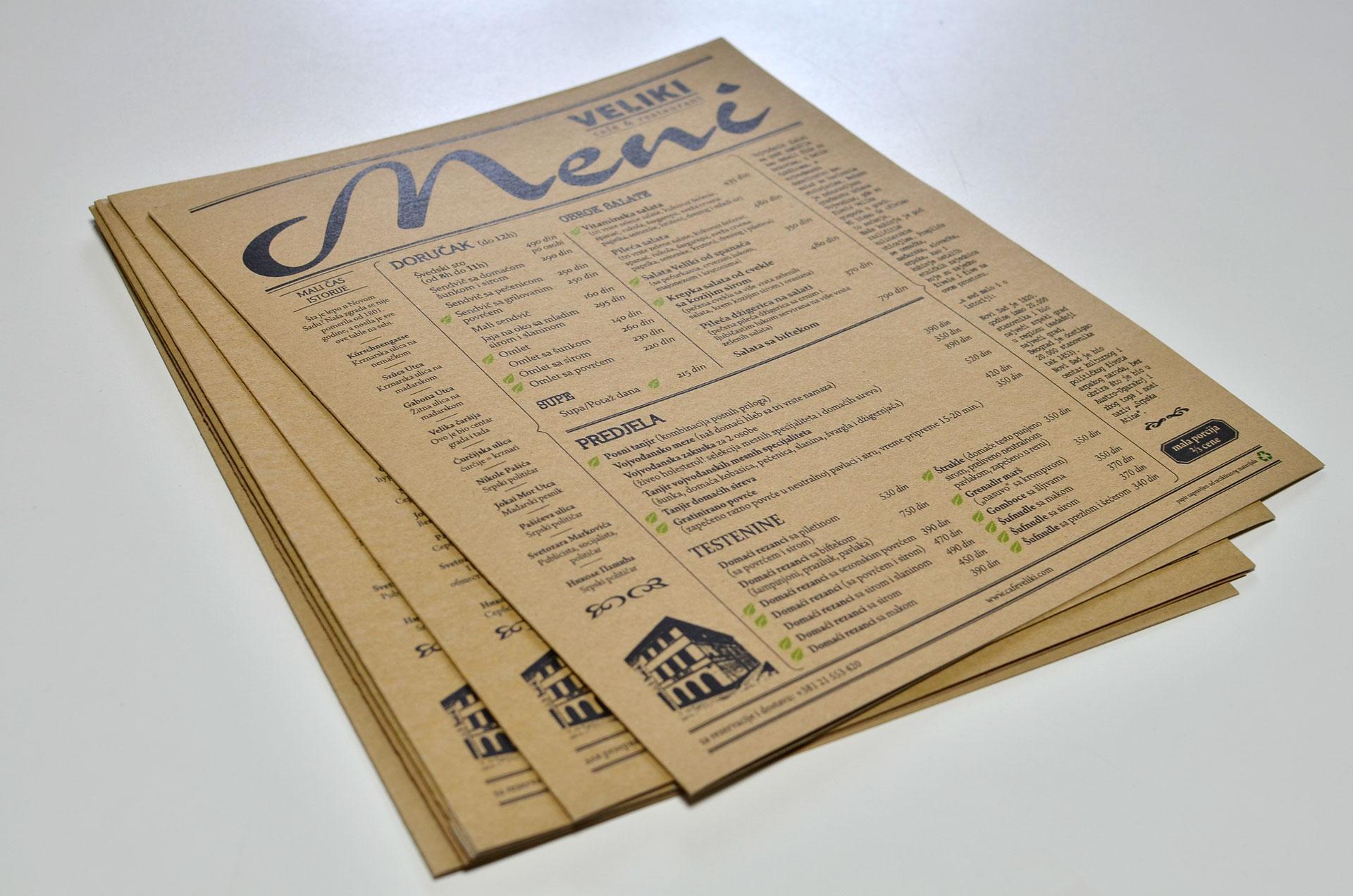 Restaurant Veliki Menu And Stationary Design 3 Oranges Design